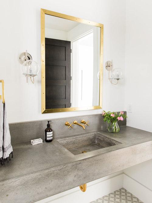 photos et id es d co de wc et toilettes avec un lavabo int gr et un mur blanc. Black Bedroom Furniture Sets. Home Design Ideas
