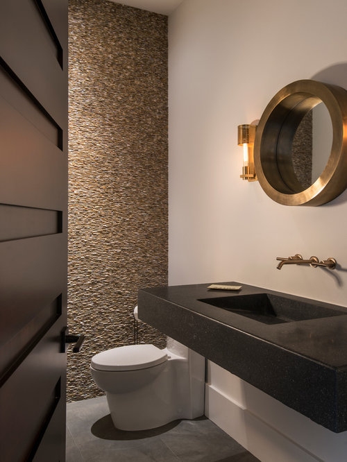 ... Powder Room Design Ideas, Remodels & Photos with a Wall-Mount Sink