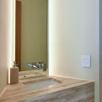 Modern Powder Room Floating Stone Vanity Light Mirror