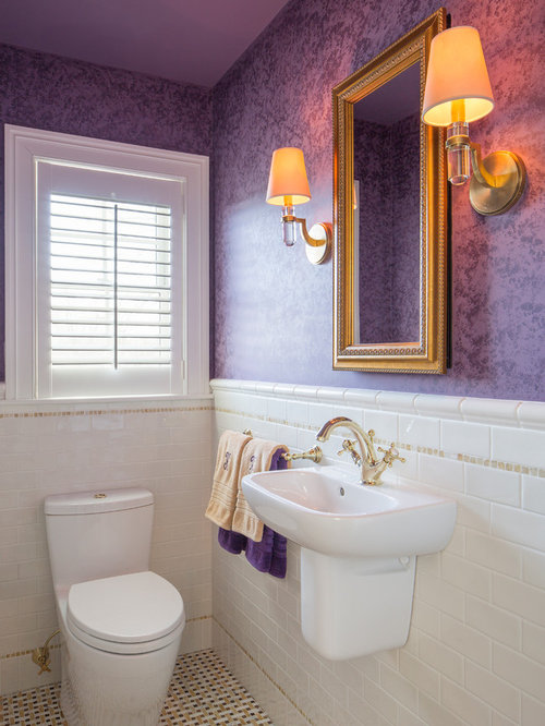 65 wall mount sink Powder Room Design Photos with Purple Walls