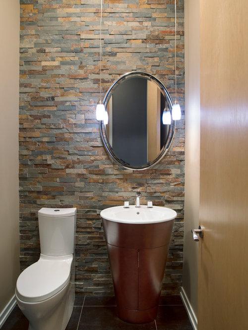 Foto e idee per bagni di servizio bagno di servizio moderno con piastrelle in ardesia - Bagno in ardesia ...