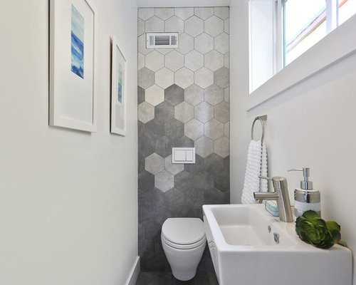 powder room small modern gray tile powder room idea in san francisco with a wall - Powder Room Design Ideas