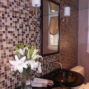Example of a trendy powder room design in Miami