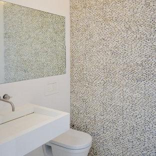 Idées déco pour un WC et toilettes moderne avec un WC suspendu et une plaque de galets.