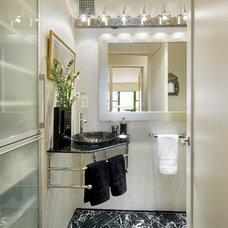 Contemporary Powder Room by Laurence Tamaccio Design Destinations
