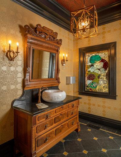 Traditional Powder Room by Copper Leaf Interior Design Studio