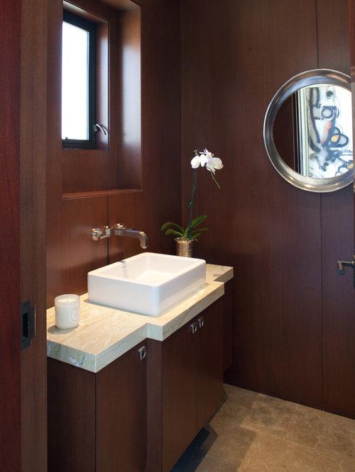 4X5' Powder Room Design Ideas, Remodels & Photos with Dark ...