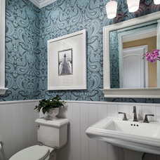 Traditional Powder Room by Duet Design Group