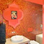 Orange Powder Room Traditional Powder Room New York