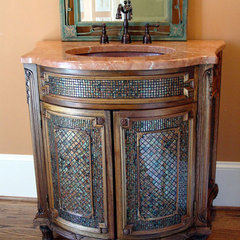 mediterranean powder room by Designer Glass Mosaics