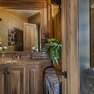 Inspiration for a medium sized rustic cloakroom in Portland with a submerged sink, raised-panel cabinets, light wood cabinets, granite worktops, slate flooring, beige tiles, stone slabs and beige walls.