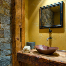 Rustic Powder Room by Bear Mountain Builders