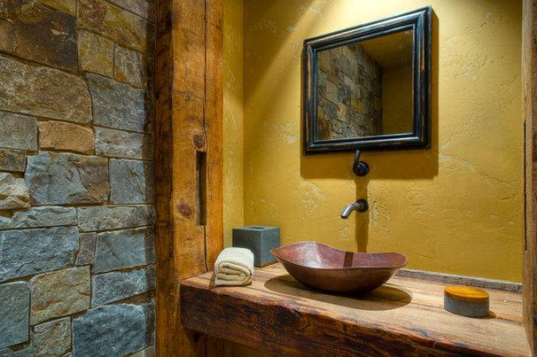 Rustic Powder Room by Bear Mountain Builders