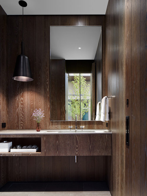 119 Modern Powder Room with Medium Tone Wood Cabinets Design Ideas & Remodel Pictures   Houzz