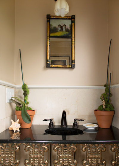 Eclectic Powder Room by Margot Hartford Photography