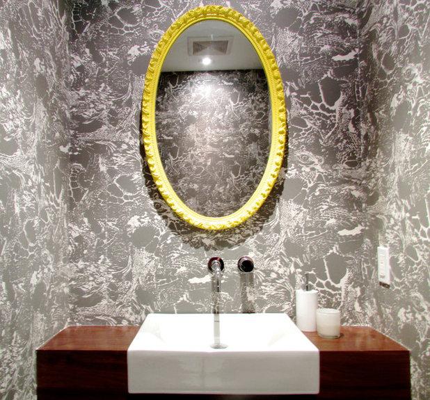 Elegant Contemporary Powder Room by Jenn Hannotte Hannotte Interiors