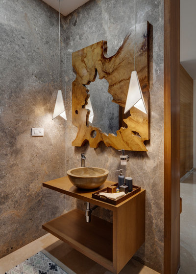 Asian Powder Room by Yellow Door Architects