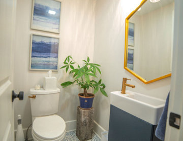 Navy and Gold Powder Room with Patterned Tile