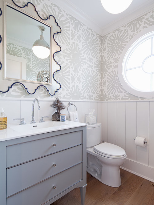 100 Light Wood Floor Powder Room With Gray Cabinets Ideas Explore
