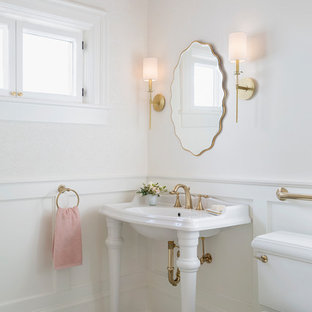 Powder room - small traditional white floor and mosaic tile floor powder room idea in Minneapolis with recessed-panel cabinets, white cabinets, a two-piece toilet, white walls and a wall-mount sink
