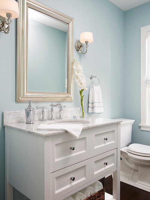 Transitional Powder Room Design Ideas, Remodels & Photos with White Cabinets