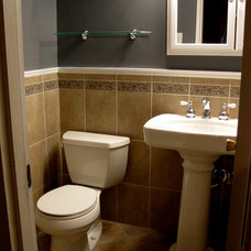 Traditional Powder Room by Straight Guy Decorating, LLC