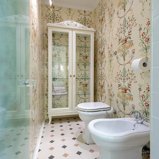 Inspiration for a medium sized classic cloakroom in Novosibirsk with beige cabinets, beige tiles, porcelain flooring and a bidet.