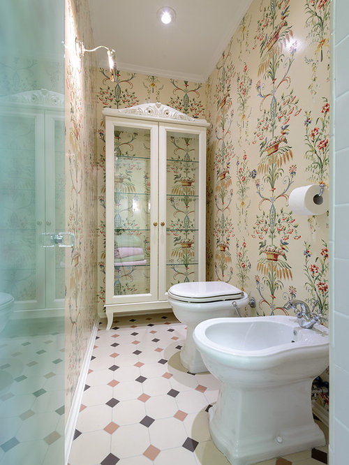 74 Mid-Sized Powder Room Design Photos with Beige Cabinets