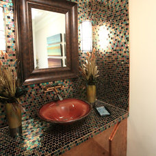 Eclectic Powder Room by Unique Interiors, Inc.