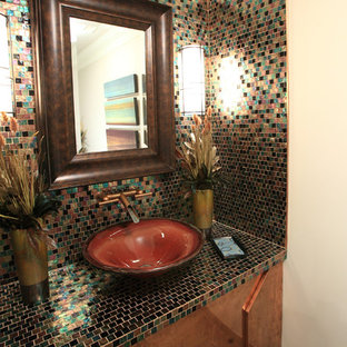 This is an example of a bohemian cloakroom in Wichita with mosaic tiles, a vessel sink, multi-coloured tiles and multi-coloured worktops.