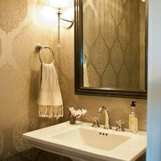Transitional Powder Room by Olley Court