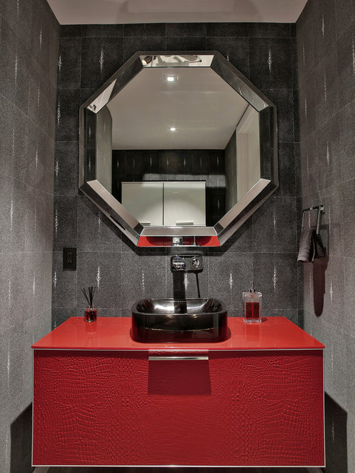32 Red Powder Room with Flat-Panel Cabinets Design Ideas & Remodel Pictures | Houzz