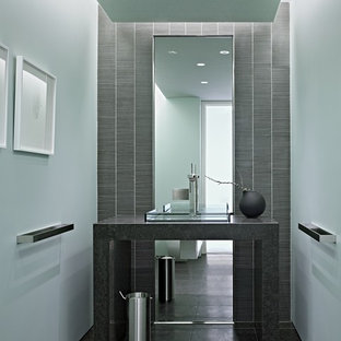 Modern cloakroom in San Francisco with mosaic tiles.