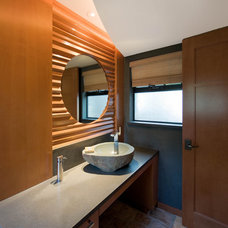 Contemporary Powder Room by Genesis Architecture, LLC.