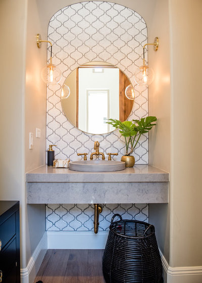 Eclectic Powder Room by Red Egg Design Group