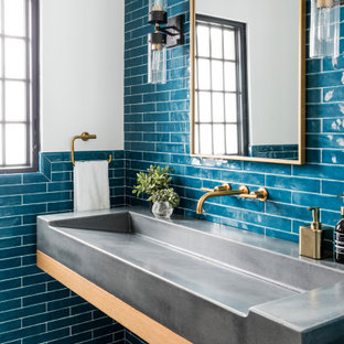 Inspiration for a contemporary powder room remodel in New York