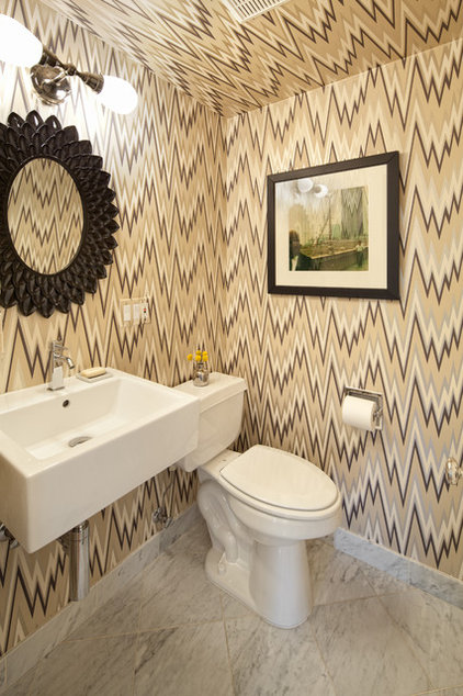 Eclectic Powder Room by Vanillawood