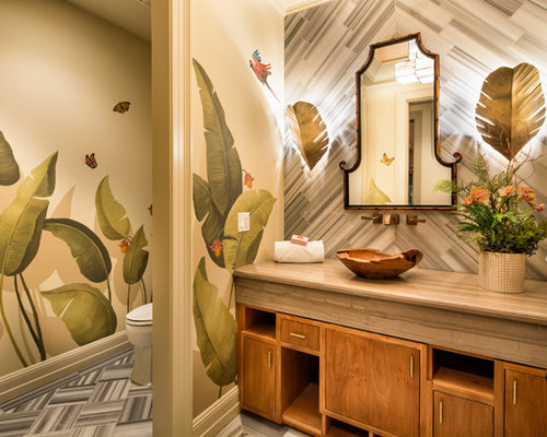 Best 100 Powder Room with Multicolored Walls Ideas & Remodeling ...