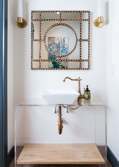Transitional Powder Room by Willow Homes