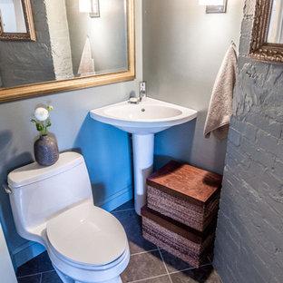 Ejemplo de aseo minimalista, pequeño, con sanitario de una pieza, paredes grises, suelo de pizarra, lavabo con pedestal y suelo negro