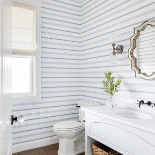 Cette image montre un grand WC et toilettes marin avec un placard en trompe-l'oeil, des portes de placard blanches, un WC à poser, un mur bleu, un lavabo encastré, un plan de toilette en marbre, un sol marron, un sol en bois brun et un plan de toilette blanc.