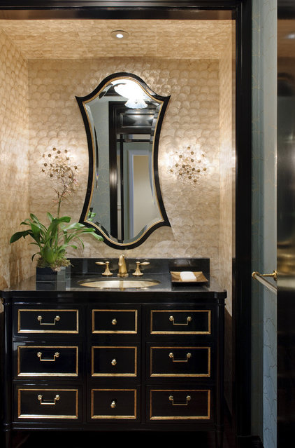 Traditional Powder Room by Kendall Wilkinson Design