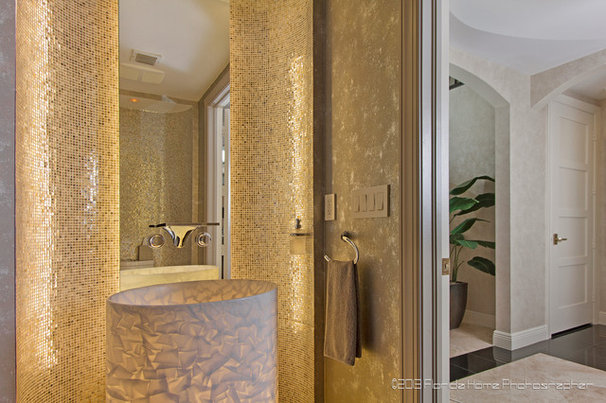 Transitional Powder Room by Andrea Patassy Photography