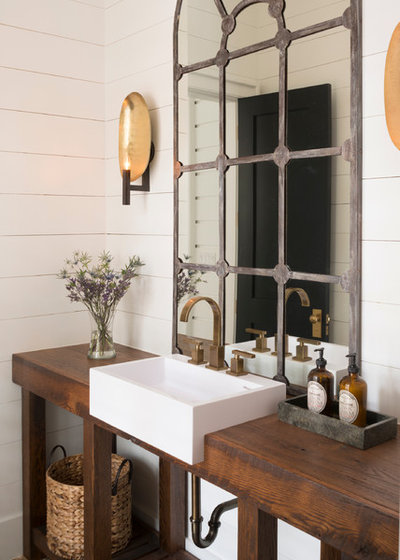 Transitional Powder Room by Arlene Williams