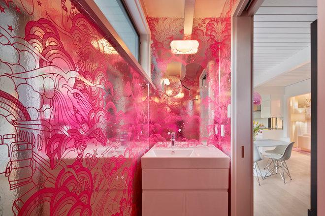 midcentury powder room by Flegel's Construction Co., Inc.