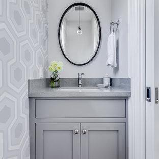 Diseño de aseo tradicional renovado con armarios estilo shaker, puertas de armario grises, encimera de cuarzo compacto, paredes grises, suelo de madera en tonos medios y encimeras grises