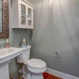 Imagen de aseo clásico renovado, pequeño, con armarios tipo vitrina, puertas de armario blancas, sanitario de dos piezas, paredes grises, suelo de madera en tonos medios y lavabo con pedestal