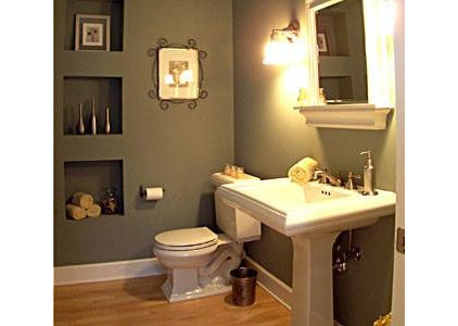 Contemporary Powder Room by ARCH-AIDE,LLC Architects