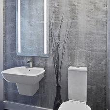 Contemporary Powder Room by Pillar Custom Homes, Inc.