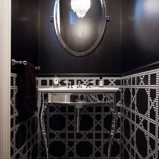 Inspiration for a timeless black and white tile powder room remodel in Sydney with a console sink and black walls